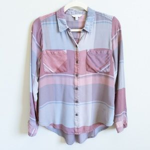 LUCKY BRAND Plaid Long Sleeve Button Front Shirt S